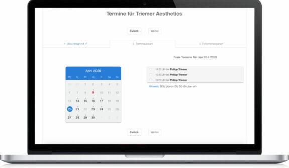 Triemer Aeshetics Dresden Kosmetik Termin Buchung Vereinbarung online Terminvereinbarung Terminbuchung Kalender